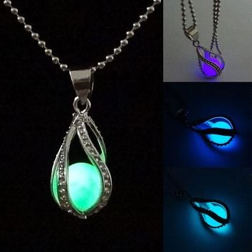 Newly Fashion Teardrop Necklace Glow in the Dark Pendant the Little Mermaid Romantic 4 Colors KQS