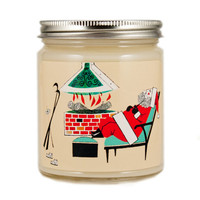 Mid Century Christmas Candle, Custom Scented Candle, Vintage Santa Candle, Container Candle, Soy Candle, Christmas Candle, Holiday Candle