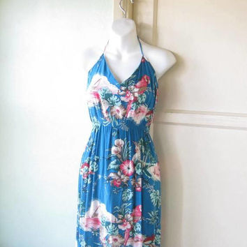 Rich Turquoise-Based Hibiscus/Tropical Bird Print Halter Dress; Women's Small Below-Knee Rayon Dress; U.S. Shipping Included