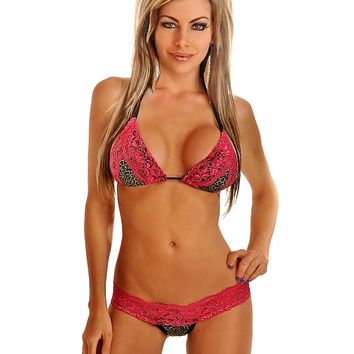 Leopard & Lace Pucker Back Bikini