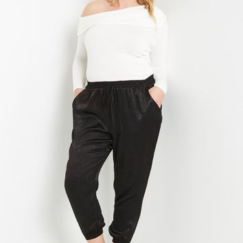 Satin Jogger Pants Plus Size