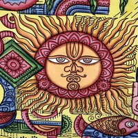 Yellow Om Aum Sun and Moon Indian Tribal Tapestry Wall Decor Hanging Beach Throw Blanket