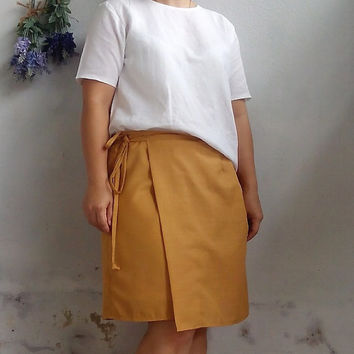 Linen Wrap Skirt / Minimalist Women Linen Wrap Skirt, MINI Linen Wrap Skirt