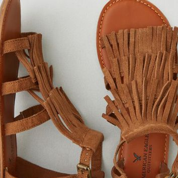 AEO Women's Layered Fringe Sandal (Dark Tan)