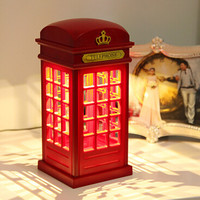 Retro London Telephone Booth Night Light USB Battery Dual-Use LED Bedside Table Lamp
