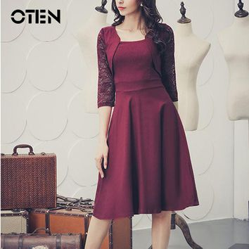 OTEN new fashion spring summer women elegant vintage 50s 60s lace patchwork casual holiday party midi pleated skater dresses