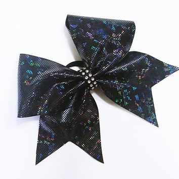 Black cheer bow, Cheer bows, cheerleading bow, cheerleader bow, cheer bow, softball bow,  dance bow, practice cheer bows, shattered glass