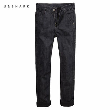 Mens Winter Fleece Jeans Lined Stretch Denim Warm Black Jeans For Men Designer Straight Trousers Pants Jeans Male