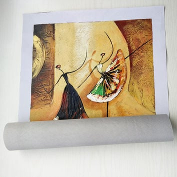 Unframed 3 Panel Handpainted Ballet Dancer Abstract Modern Wall Art Picture Home Decor Oil Painting On Canvas For Bedroom