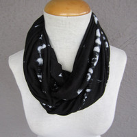 Black and White Tie Dye Infinity Scarf - Modern Print Circle Scarf - Black and White Jersey Scarf