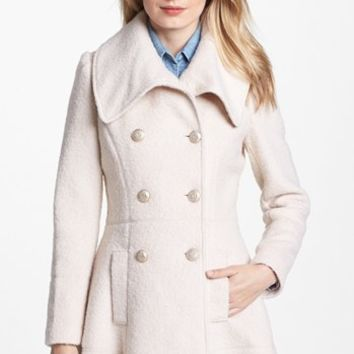 GUESS Double Breasted Bouclé Coat (Regular & Petite)   Nordstrom