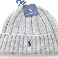 Polo Ralph Lauren Cuff Wool Men's/Women's Heather Gray Winter Beanie Hat