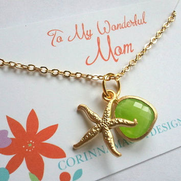 Gold starfish charm necklace, beach jewelry, mother's day, wife, sister, daughter, bridesmaid gift, beach wedding jewelry, maid of honor