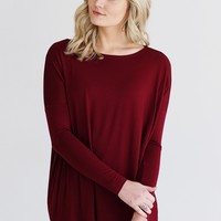 Burgundy PIKO Long Sleeve Top
