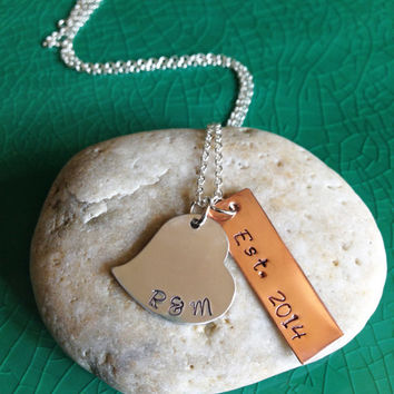 Metal Stamped Initial Heart (Two Initials) on a Sterling Silver Necklace with One Copper Date Tag, Handmade