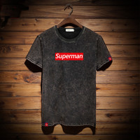 Korean Summer Short Sleeve Men Rinsed Denim Weathered Strong Character T-shirts [9957984899]
