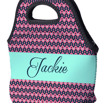 Lunch Tote - Pink and Teal Aztec Print