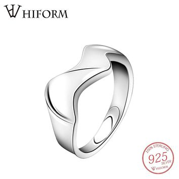 HIFORM 925 Sterling Silver/Gold Big Wide Wave Smooth Open Finger Ring for women/girl Punk Rock Party Jewelry Rings