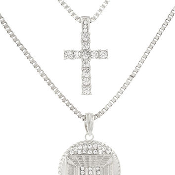 Silvertone Layered Iced Out Cross and Last Supper Pendant with Box Chain