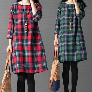 Women Casual Pregnancy Dress Maternity Dresses Winter Clothes for Pregnant Women Cotton Linen Plaid Pregnant Clothing 3XL CE082