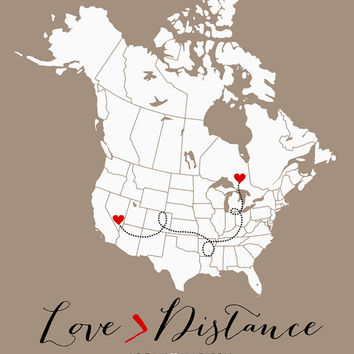 Long Distance Relationship Gift 8x10 Personalized Map with Two Hearts, Custom Art Print, Gift for Anniversary, Wedding, Engagement - Greater