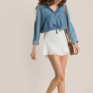 Megan White Eyelet Ruffle Shorts