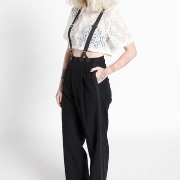 Vintage 70s Black Wool High Waisted Tuxedo Trousers with Suspenders   6