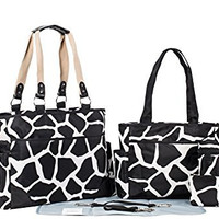 SoHo Collection, Black Giraffe 7 pieces Diaper Bag set *Limited time offer !* (Black)