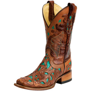 Corral Dark Chedron/Teal Handtooled-11 Top Cowgirl Boots