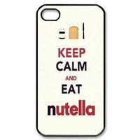 "2013 New Style Funny ""Keep Calm AND EAT nutella"" White Cover Hard Plastic iPhone 4 4S Case"