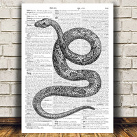 Snake print Animal art Wildlife poster Dictionary print RTA581