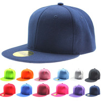 Adjustable Men Women Baseball Cap Solid Hip-Hop Snapback Flat Peak Hat Visor