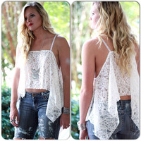 For fall Love Lemons style creme lace crop top, angel wing beach lace cami, festival clothing for fall, boho chic, True rebel clothing Sm