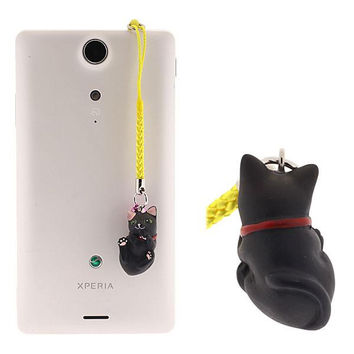 Pet Lovers Kitten Earphone Jack Accessory (Black)