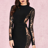 Clothing : Bandage Dresses : 'Gizi' Black Backless Bandage Lace Dress