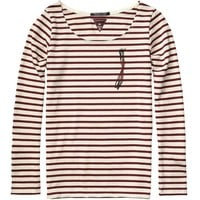 Breton Stripe Top With Biker Zip Detail - Scotch & Soda