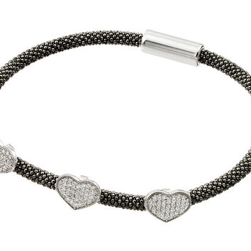 .925 Sterling Silver Rhodium &  Black Rhodium Plated Heart Micro Pave Clear Cubic Zirconia Beaded Italian Bracelet