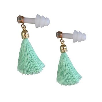 MINT GREEN TASSEL RHINESTONE EARPLUGS INSPIRED BY BREAKFAST AT TIFFANY'S