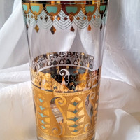 Culver Glass, Saratoga HiBall, Vintage Barware, 22K Gold and Aqua Blue, Cocktail Glass
