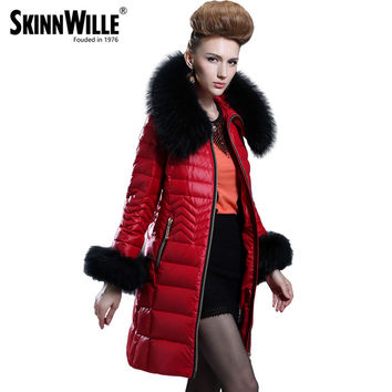Down Jacket Collars 2016 Medium-long Down Coat Female Fashion High Quality Luxury Thickening Fur Collarwomen Coat