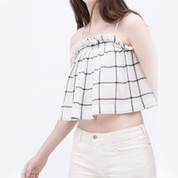 White Plaid Printed Crop Top