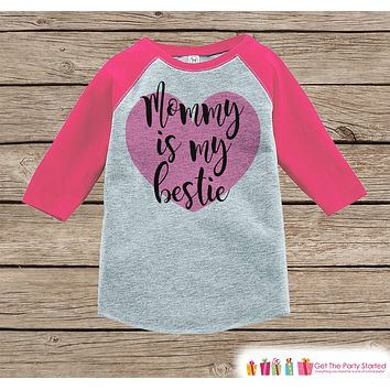 Kids Mother's Day Outfit - Mommy is my Bestie Onepiece or Tshirt - Happy Mothers Day Girl Pink Raglan Tee - Newborn Baby Gift - Pink Heart