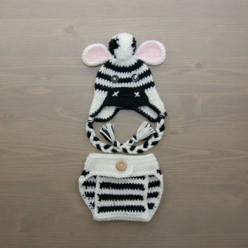 Crochet Zebra Costume, Crochet Zebra Set, Diaper Cover Set, Crochet Baby Hat, Newborn Photography Prop, Photo Prop, Crochet Zebra Hat