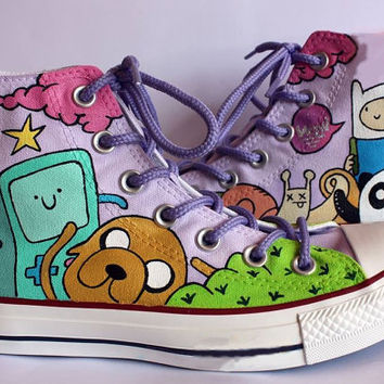 Adventure Time Painted Shoes / Finn and Jake