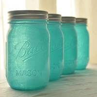 Stained Glass Mason Jars - Set of 4 - Aqua Blue