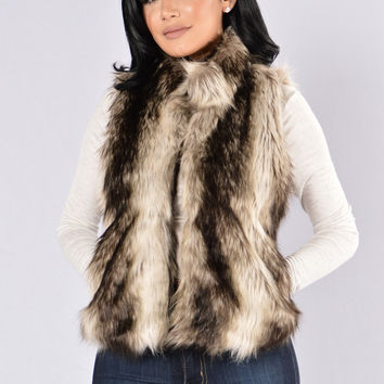 Spirit Animal Vest - Taupe Stripe
