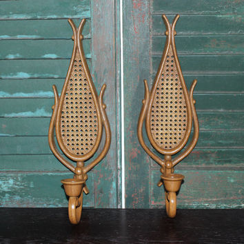 Brown faux wood rattan wicker Homco teardrop sconces - Candle holders, wall decor, rustic decor