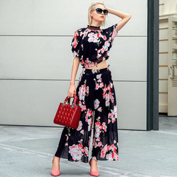 Black Short Sleeve Floral Print High Neck Shirt with Pants