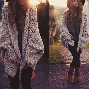 batwing sleeve knitted cardigan sweater