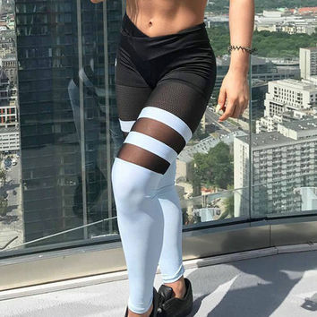 Women See-Through Mesh Slim Sport Suit Fitness Sportswear Stretch Exercise Yoga  Trousers Pants _ 13458